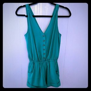 Anthropology Kimchi Blue Teal Romper Size XS